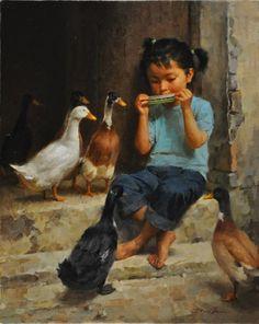 JIE WEI ZHOU LISTEN oil on canvas 20 x 16 in (50.8h x 40.64w cm) $6,700