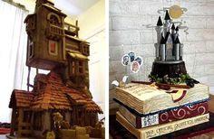 Harry Potter wedding cakes that look like the Burrow and Hogwarts Castle
