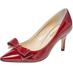 Butter Women's Drift Bow Pump - Red - Size 9.5 ($199) ❤ liked on Polyvore featuring shoes, pumps, red, bow pumps, red pointed toe pumps, red bow pumps, high heeled footwear and pointy toe pumps