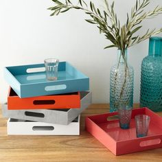 "$sale…  Square Lacquer Trays | west elm sale!!! coral, grey sone, gold, clear, maroon, orange/red. $25 - #34 (reg $30-$34) Sq lacquer trays in bold shades can multi-task. 12""sq. x 2.25""h. Engineered wood with lacquered finish. Espresso color is engineered wood with chocolate finish. Imported."