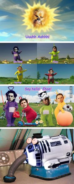 Star Wars characters as teletubbies soooo funny ;) - Star Wars Funny - Funny Star Wars Meme - - Star Wars characters as teletubbies soooo funny The post Star Wars characters as teletubbies soooo funny ;) appeared first on Gag Dad. Star Wars Trivia, Star Wars Droiden, Star Wars Facts, Star Wars Humor, Star Wars Personajes, Star Wars Quotes, Star Wars Wallpaper, Love Stars, Star Wars Characters