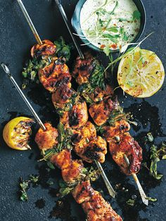 portuguese-style chicken skewers with coriander yoghurt sauce from donna hay fresh + light issue #3
