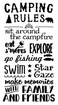 Camping Rules Subway Art Wall Decals Sticker Camper Rv Camp Quote Saying 19X10