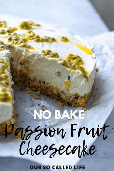 No Bake Passion Fruit Cheesecake Easy No Bake Cheesecake, No Bake Desserts, Just Desserts, Simple Cheesecake Recipe, Cheesecake Bites, Health Desserts, Passionfruit Cheesecake, Passionfruit Recipes, Maltesers Cheesecake