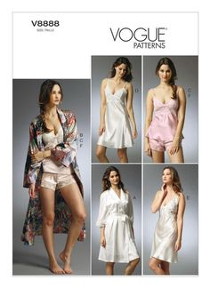 Vogue V8888 robe, lace-trimmed slips, camisole, and panties