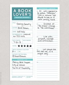 For bookmarking + epiphanies. Since I can't make it through two pages ofDaring Greatlywithout writing down ideas, I really need this. It also has lots of fun things like: • a reminder to send a love note to the author • a star rating system • a reading list • an epiphany / quote /... read more Bullet Journal Ideas Pages, Journal Prompts, Book Journal, Journal Sample, Epiphany Quotes, Bujo, Book Log, Journal Organization, Commonplace Book