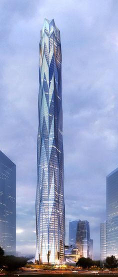 Construction starts on Smith and Gill's ice-inspired skyscraper for Chengdu. 黄昏 塔楼 色调