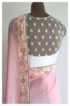 It's here Modern Sari Blouse Click Visit link for more info - Saree Blouses Blouse Back Neck Designs, Netted Blouse Designs, Blouse Designs Catalogue, Net Blouses, Chiffon Blouses, Choli Designs, Dress Designs, Bastilla, Stylish Blouse Design
