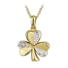 Shamrock Necklace 14K 2 Tone Gold  Diamond Irish Made  Price : $715.95 http://www.biddymurphy.com/Shamrock-Necklace-Tone-Diamond-Irish/dp/B0054ZPIH6