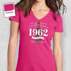 55th Birthday, Women's V-Neck, 55th Birthday Idea, 55th Birthday Present, or Birthday Gift. 1962 Birthday, For The Lucky 55 Year Old!