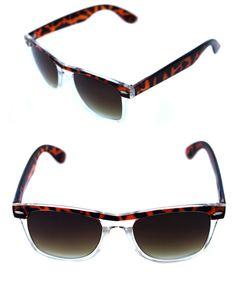 f0aece12d Details about Men's Tortoise Brown Clear Frame Sunglasses Horn square  Rimmed Black Lenses 80's
