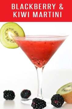 Cheers! Our Blackberry Kiwi Martini Recipe will leave you wanting another. Full of plump blackberries and juicy kiwi. Click for more drink recipes! Cheers! #cocktailrecipes
