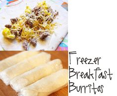 Lovely Little Snippets: Freezer Breakfast Burritos. Use turkey sausage, whole wheat tortillas, low-fat cheese, and add in some spinach and peppers. What's For Breakfast, Health Breakfast, Breakfast Recipes, Frozen Breakfast, School Breakfast, Breakfast Healthy, Sausage Breakfast, Breakfast Sandwiches, Breakfast Buffet