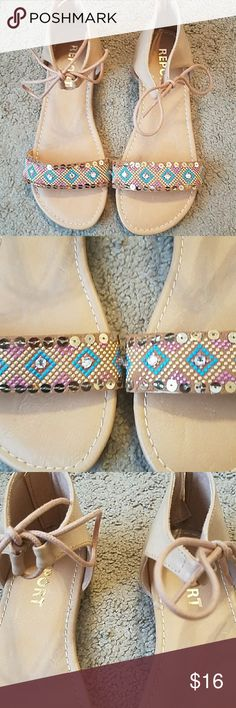 Report NWOT Girls Sandals size 4 Adorable and Perfect for Summer! Sequin toe Sandals with adorable ties at ankle! Perfect condition never worn Report Shoes Sandals & Flip Flops