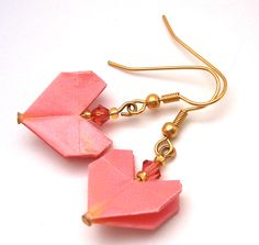 Origami Earrings - Pink Origami Heart Earrings, with Swarovski Crystal Accent