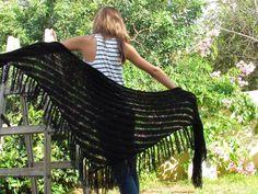 SALE BLACK SHAWL  A long lovely  knitted shawl by ettygeller