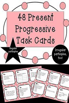 48 Spanish Present Progressive Tense Task Cards Spanish Grammar, Spanish Vocabulary, Spanish Teacher, Spanish Classroom, Teaching Spanish, Spanish Language, Spanish Worksheets, Spanish Activities, Class Activities