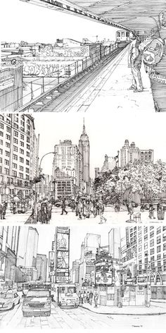 New York ( Coney Island Subway, Midtown Manhattan, Times Square ) by City Drawing, New York Drawing, Building Sketch, Perspective Drawing, Architecture Drawings, Urban Sketching, Environment Design, Drawing Techniques, Line Art