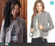 Tamra's grey leather jacket on The Mindy Project.  Outfit Details: https://wornontv.net/60312/ #TheMindyProject