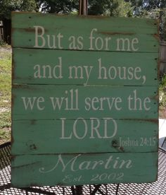 As for me and my House, We will Serve The Lord, Pallet Sign, Wooden Sign, Personalized, Recycle Wood, Shabby Chic, Chalk Paint