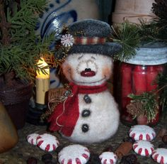 Primitive Frosty Snowflake Christmas Ornament Snowman Doll Vtg Patti's Ratties....for ordering information contact me at pattisratties3d@yahoo.com