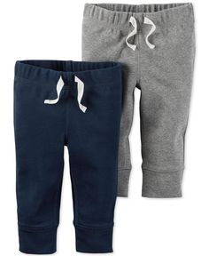 This two-pack of pull-on cotton pants from Carter's lets you stock up on comfy options for baby boy. | Cotton | Machine washable | Imported | Two pack of pull-on pants | One solid hue, one heathered |