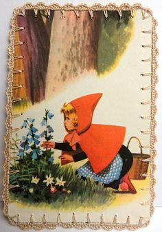 Omhaakte kaart : Roodkapje plukt bloemen van -CarlaK- op DaWanda.com