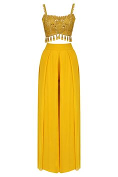 Arpita Mehta presents Yellow pineflower crop top and palazzo pants set available only at Pernia's Pop Up Shop. Indian Fashion Dresses, Indian Gowns Dresses, Dress Indian Style, Indian Designer Outfits, Designer Dresses, Fashion Outfits, Emo Fashion, Fashion Women, Mehendi Outfits