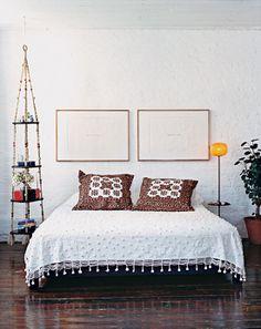 hanging macrame bedside table