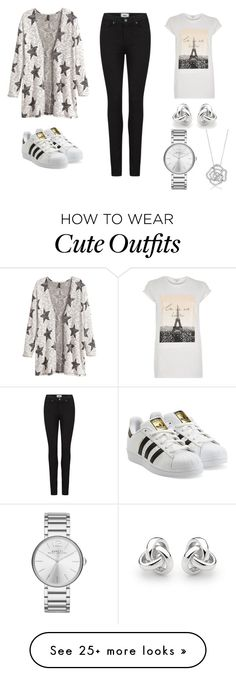 """Cute school outfit 3"" by garance12 on Polyvore featuring H&M, River Island, adidas Originals, Georgini, Marc by Marc Jacobs, BERRICLE and Paige Denim"