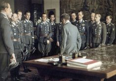Luftwaffe aces meet Hitler after an awards ceremony at the Berghof, April 4, 1944