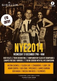 New Years Eve Party at Gigalum, 7-8 cavendish parade, london, SW4 9DW, United Kingdom On Wednesday December 31, 2014 at 6:00 pm (ends Thursday January 01, 2015 at 4:00 am) Its the biggest NYE Party to date at Gigalum. Tickets are only £10 which will include free canapés and a glass of champers on early entry. Price: £10, Artists: Hilton Caswell, Category: Bars