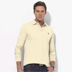 Ralph Lauren Long Sleeved Soft Mesh Men Beige Polo  http://www.ralph-laurenoutlet.com/