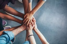 Stack of hands showing unity and teamwork by jacoblund. Close up top view of young people putting their hands together. Friends with stack of hands showing unity and teamwork. Misophonia, Le Social, Anti Social, Social Media, Love Your Neighbour, Hands Together, Stock Foto, Financial Goals, Influencer Marketing