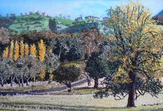 Brungle turnoff at Bombowlee near Tumut NSW . Thread painted on silk. Thread Painting, Silk Painting, Mountains, Nature, Travel, Outdoor, Art, Outdoors, Art Background