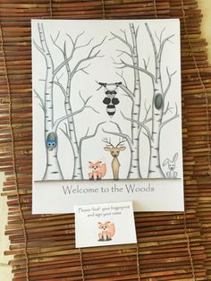 Customizable Thumb print tree guest book with birch aspen trees and woodland animals, Fingerprint tree guest book, woodland animals baby - pinned by pin4etsy.com