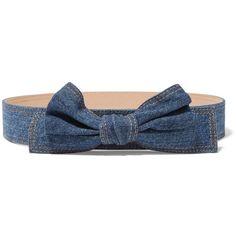 REDValentino - Denim And Leather Waist Belt ($146) ❤ liked on Polyvore featuring blue, bow belt, denim belt, studded belt, red valentino and blue bow belt
