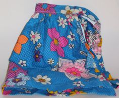 Vintage Bright Pink and Blue 70s Handmade Half by TheUnextreme