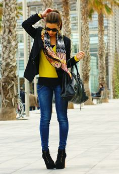 YELLOW and BALENCIAGA  , Versace in Sweaters, Met in Jeans, Jeffrey Campbell Lita in Boots, Balenciaga in Bags, Missoni in Scarves / Echarpes, Lanvin for H&M in Blazers