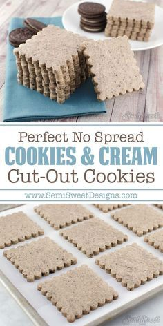 Cookies and Cream Cut-Out Cookies Cookies and Cream Oreos Cut-Out Cookies Recipe by SemiSweetDesigns Cookies And Cream Oreos, Cake Mix Cookies, Iced Cookies, Sugar Cookies Recipe, Yummy Cookies, Cookies Et Biscuits, Fancy Cookies, Cut Out Sugar Cookies, No Spread Sugar Cookie Recipe