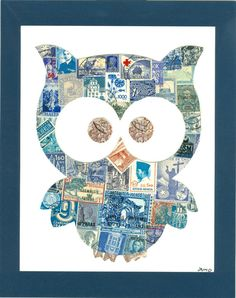 8'' x 10'' Recycled Postage Stamp Art – Oliver the Owl