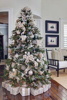 "Beach Christmas tree // ""An Elegant Christmas by the Seaside"" Beach Christmas Trees, White Christmas Tree Decorations, Coastal Christmas Decor, Nautical Christmas, Beautiful Christmas Trees, Noel Christmas, Christmas Christmas, Xmas Trees, Vintage Christmas"