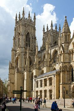 York Minster. For a few pounds admission you can climb up an ancient claustrophobic stone stairway all the way up to the top of the main tower.