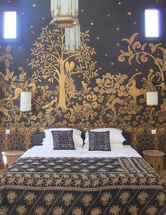 Bedroom mural at Peacock Pavilions, Marrakesh, Morocco by Melodie Royals of Royal Design Studio. You can buy this stencil pattern! Bohemian House, Dream Bedroom, Home Bedroom, Master Bedroom, Bedroom Murals, Wall Murals, Bedroom Wall, Wall Art, Interior And Exterior