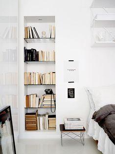 Scandinavian bedroom with open shelving