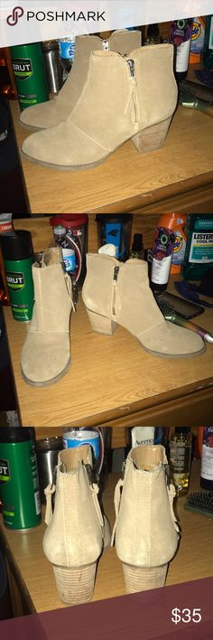 American eagle tan ankle booties Worn a handful of times. Size 9. The pictures show the wear pretty well. They are in great condition. Zippers on inside and outside. About 2 inch heel. Paid $60. American Eagle Outfitters Shoes Ankle Boots & Booties
