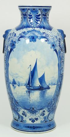 Antique Delft blue white porcelain covered jar having coastal scenes with windmills. Blue And White China, Blue China, Red White Blue, Blue Dishes, Blue Pottery, Theme Color, China Painting, Antique China, White Decor