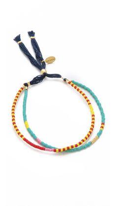 Shashi Carlita Bracelet.  Colorful double strand beaded bracelet.  Cute and summery!
