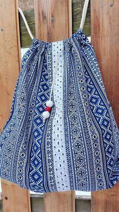 BackPack/Batoh/Vak - modro - biely folk cifrovaný / LuJo - SAShE.sk - Handmade Batohy Tie Dye Skirt, Folk, Backpacks, Skirts, Fashion, Moda, Popular, Fashion Styles, Skirt