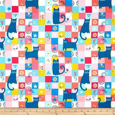 Counting Kittens Exclusively Quilters Blue Background Cotton Cat Fabric BTY